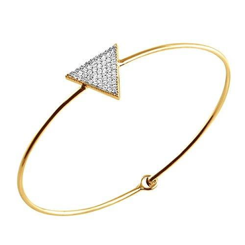 - 14K Yellow Gold 0.35 Carat (ctw) Natural Round Diamond Beautiful Bangle Women's Fine Bracelet