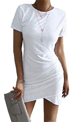 (BTFBM Women's 2019 Casual Crew Neck Ruched Stretchy Bodycon T Shirt Short Mini Dress (104White, Medium))