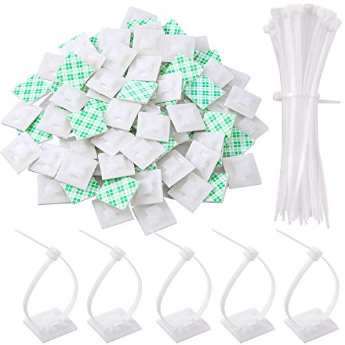 100 Pack Zip Tie Adhesive Mounts Self Adhesive Cable Tie Base Holders with Multi-Purpose Cable Tie (Length 150 mm, Width 2 cm, - 3 Clips Adhesive