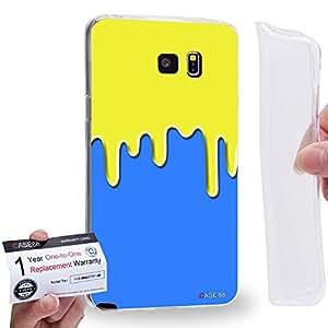 Case88 [Samsung Galaxy Note 5] Gel TPU Carcasa/Funda & Tarjeta de garantía - Art Fashion Yellow & Blue Meltdown Silicone Art1774