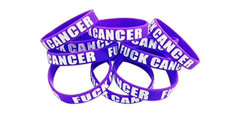 Fuck Cancer Pack of 10 Purple Silicone Bands for Cancer Awareness (1 Pack of 10 Bands)