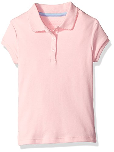 Nautica Girls' Uniform Short Sleeve Polo With Picot Stitch Collar, Light Pink, Medium(8-10) (Kids School Polyester)