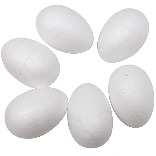 48pcs 7cm Natural White Styrofoam Egg Shape Balls