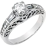 Women's 14k White-gold Forever Classic Moissanite 5.50MM 5/8CT TW & 1/3 CT TW Diamonds Engagement Ring