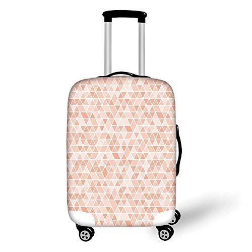 Travel Luggage Cover Suitcase Protector,Light Pink,Geometric Mosaic Inspired Pattern Triangles Grid Retro Abstraction Decorative,Pink Light Pink White,for TravelS 19x27.5Inch