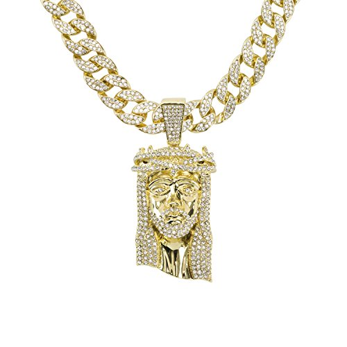Jewelry4All Men's Hip Hop Jesus Diamond Studded Pendant on 15mm 24