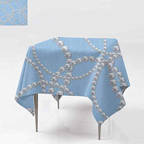 Design Basketweave Bracelet - DUCKIL Oil-Proof and Leak-Proof Tablecloth Pearl Necklace Bracelet Classic Women Bridal Groom Shower Theme Feminine Art for Kitchen Dinning Tabletop Decoration W50 xL50 Baby Blue White