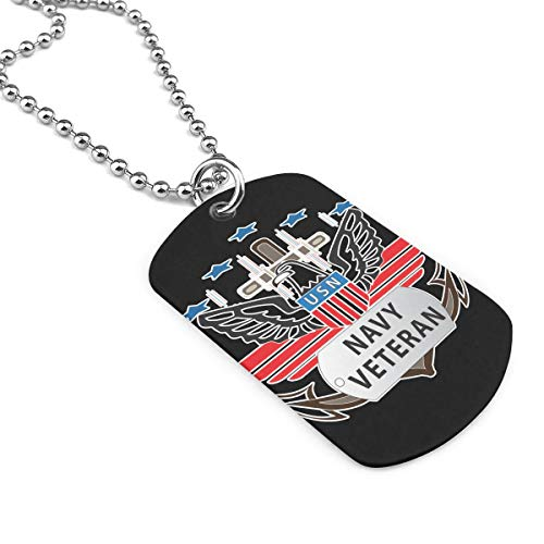 - USN Navy Veteran Dog Tag Necklace, Jewelry For Men Or Women Zinc Alloy Army Pendants Necklace