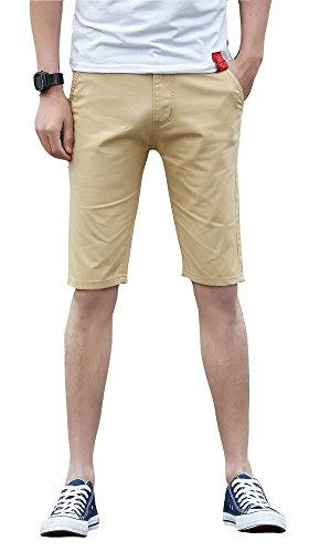 Plaid Shorts Khaki (Plaid&Plain Men's Flat Front Skinny Shorts Men's Chino Shorts 7507Khaki 30)