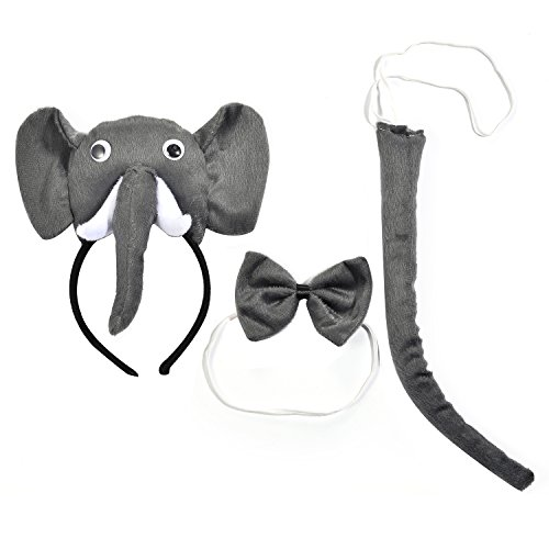 Lux Accessories Grey Colored Elephant Head Trunk Ribbonbow Tail Costume Dressup