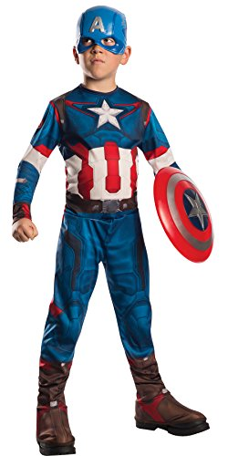 Captain America New Costume Avengers (UHC Boy's Captain America Outfit Child Fancy Dress Halloween Costume, Child L (12-14))
