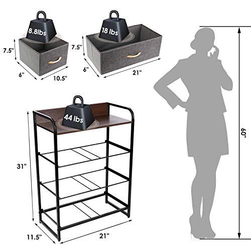 TUSY 4 Drawer Dresser Tower, Drawers Organizer Storage Dressers for Bedroom, Closet, Hallway, Entryway, Nursery Room, Office Organization, Fabric Bins