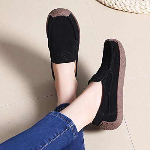 Z Mocassins De Suède Femmes Conduite Loafers Confort Chaussures Casuel Noir suo wPwa1TqR