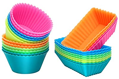 [24 Pack] Ipow Silicone Baking Cups Cupcake Bakeware Liners Case Molds Sets