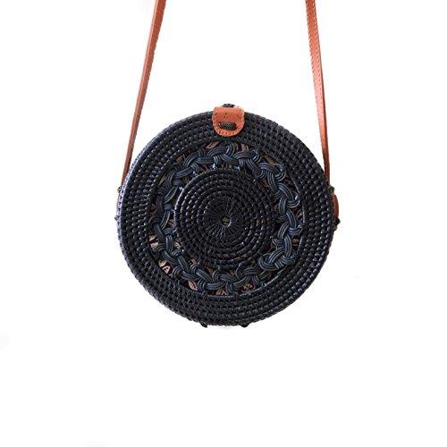 a Rattan Round Crossbody Bag Braided Center - Black (Brown Strap) ()