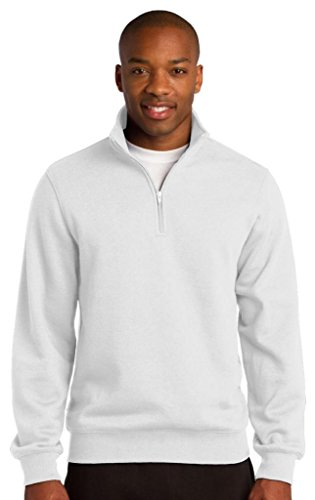 Sport-Tek Men's Colorfast 1/4-Zip Wiastband Sweatshirt,Large,White - Sport Tek White Sweatshirt
