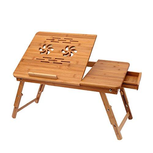 oliote Mesa de bambu con Altura Regulable para computadora portatil con cajon, Mesa de Cuaderno Plegable de bambu, mesita de Noche para Lectura o Desayuno, Mesa de Dibujo y Mesa de Comedor para Cama