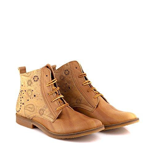 Felmini - Zapatos para Mujer - Enamorarse com Clash 8732 - Botines com Cordones - Cuero Genuino - Marrón claro Marrón claro