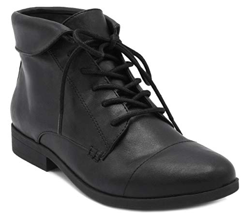 Gloria Vanderbilt Women's Claudette Dress Ankle Boot Ladies Lace Up Bootie with Collar Black 9.5 (Womans Boot Liners)