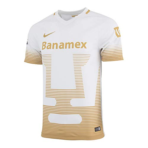 18ff51f36a0 2015-2016 Nike UNAM Pumas Away Replica Soccer Jersey (White/Gold) (M)