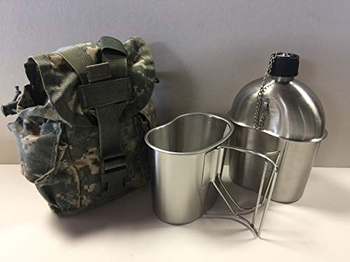 Surplus Stainless Steel (G.I. Style Stainless Steel 1qt. Canteen with Cup. & Genuine G.I. Surplus, ACU MOLLE II Pouch.)