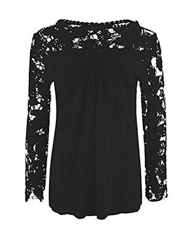LemonGirl Women Lace Long Sleeve Blouse Shirt Tops Black