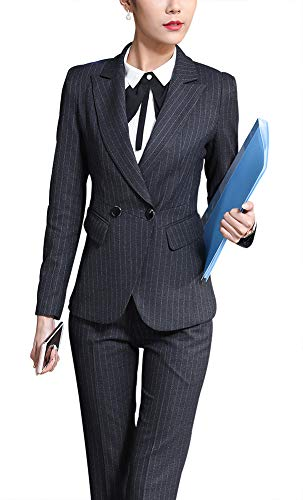 Women's Three Pieces Office Lady Blazer Business Suit Set Women Suits for Work Skirt/Pant,Vest and Jacket (Grey, M) ()