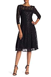 Women's Lace Sequin Fit Flare Dress