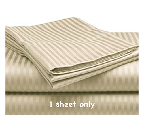 Twin Size Flat Sheet Only, 100% Cotton Sateen 300 Thread Count, Ivory Stripe (Flat Sheets Only)