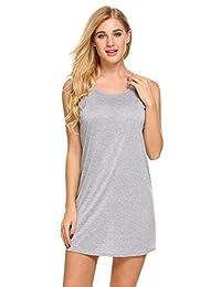 Ekouaer Women's Sleepwear Sleeveless Nightshirt Open-Back Slip Nightgown S-XXL