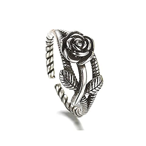 Unique Womens Open Ring Gothic Rose with Leaves Cast Ring Adjustable Silver Plated Comes With Velvet (Rings Cheap Silver)