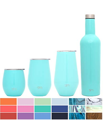 Simple Modern Spirit 12oz Wine Tumbler Wine Tumbler - Vacuum Insulated Thermos Double Wall Flask - 18/8 Stainless Steel Travel Mug - Caribbean by Simple Modern
