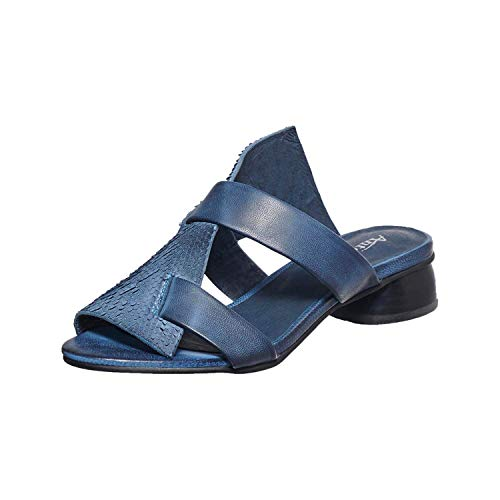 Antelope Women's 233 Blue Leather Textured Round Heel Sandal 40