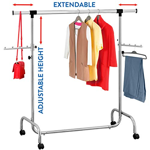 Tatkraft Falcon Heavy Duty Clothes Rack for Hanging Clothes | Commercial Grade Rack for Clothes | Rolling Clothes Rack | Adjustable Length 3,5-5,7 Ft and Height 4,5-6,1 Ft | Chromed Steel by Tatkraft