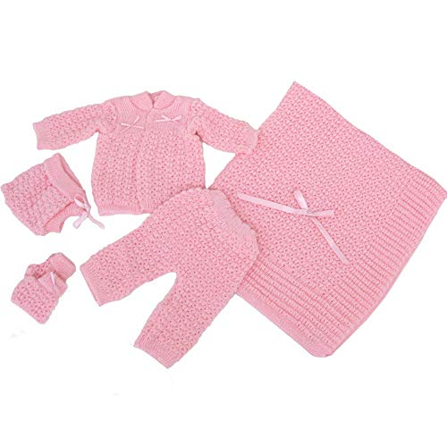 Bone Baby Girl Pink Pants Hat Booties Sweater Blanket Newborn Set