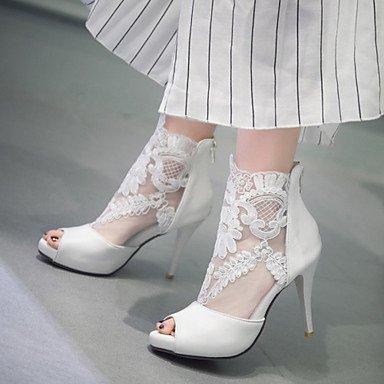Zapatos De Mujer Stiletto Talón Peep Toe / Sandalias De Plataforma / Fiesta Boda &Amp; Por La Noche / Vestido Negro / Blanco US9.5-10 / EU41 / UK7.5-8 / CN42