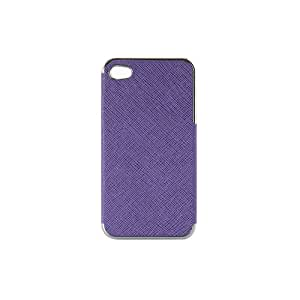 New Frame Luxury Leather Chrome Hard Back Case Cover For iPhone 4 4G (Purple+silver edge)