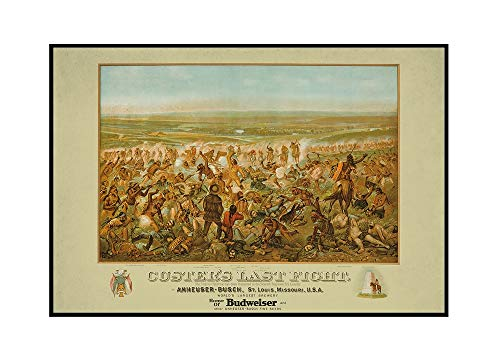 (Custer's Last Fight - Anheuser - Busch - Budweiser Vintage Poster (artist: Becker) USA c. 1936 (36x24 Framed Gallery Wrapped Stretched Canvas))