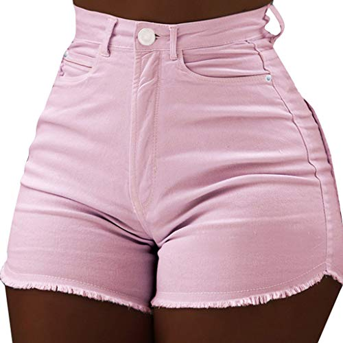 VICCKI Women Summer Daily Causal Pocket Soild High Waist Slim Fit Short Length Pants Pink
