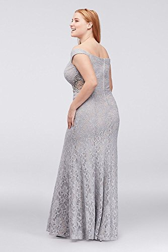 Beaded with Plus Sides Size Silver Style The 3622HN7W Gown Off Shoulder qAYUSf