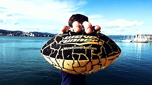 Wave Runner Grip It Waterproof Football- Size 9.25 Inches with Sure-Grip Technology | Let's Play Football in The Water! (Random Color)