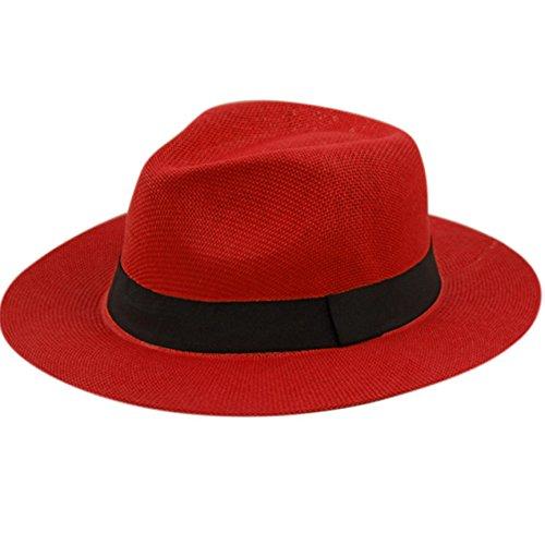 ANGELA & WILLIAM The Original Panama Matte Toyo Straw Sun Safari Hat (RED)