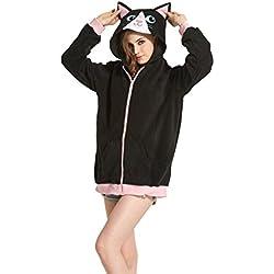 SIMJOY Women's Polar Fleece Cartoon Animal Design Zip-Up Hoodie Kigurumi Jacket Costume, Cat, X-Large