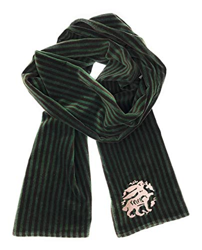 The Arabesque's Brown And Green Reversible Bunny Scarf. All-Year Stylish Poly Cotton Blend Handmade Scarf With Embroidered Medieval Hare