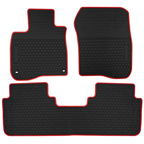 biosp Car Floor Mats for Honda CR-V CRV 5th 2017 2018 2019 Front And Rear Seat Heavy Duty Rubber Liner Black Red Vehicle Carpet Custom Fit-All Weather Guard Odorless