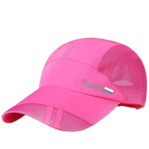 Unisex Classic Twill Mesh Hat Adjustable Baseball Hat Breathable Simplicity Hip Hop Hat Hot Pink