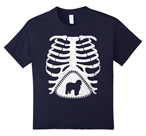 Kids Maternity Skeleton Shirt, OLD ENGLISH SHEEPDOG Funny T-shirt 8 Navy
