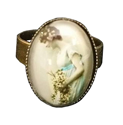 [Victorian Bride Mixed Media Glass Domed Adjustable Statement Ring] (1920s Dresses Cheap)