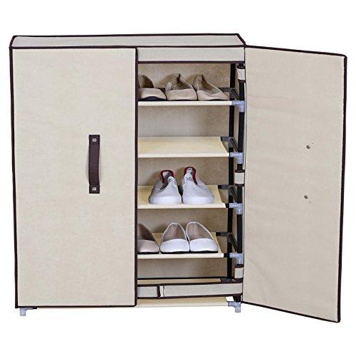gris poussière Anti Ivoire 5 En Niveaux Woltu Chaussures Meuble Pliante 74x30x87cm Ss5029gr chaussures Porte À range Avec Tissu nwTw0Yaq