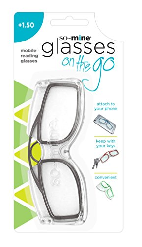 So-Mine Reading Glasses on the Go, +1.50 Magnification, Sits on Nose,  Storage Case, Smoke - As Seen On - On Glasses Your Nose That Sit